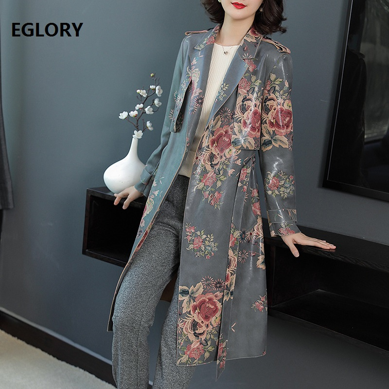 2018 Autumn Winter Fashion Designer Coat   Trench   2018 Women Floral Print Belt Coat Windbreaker Ladies Casual Overcoat Female