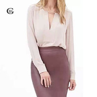 Lace Girl Long Sleeve Women Chiffon Blouse 2017 Fashion V-Neck Ladies Office Blouse Loose Tops Blusas Formal Blouse For Work