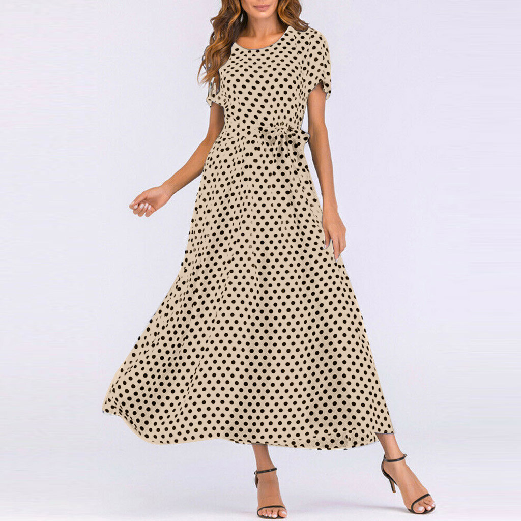 HTB1.PSUaAWE3KVjSZSyq6xocXXaK - Summer Dress Women O-Neck Short Sleeve Boho Polka Dot Bandage Maxi Long Dress Women Beach Sundress Plus Size Vestidos