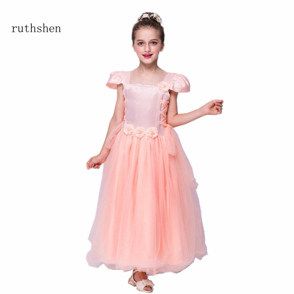 ruthshen Real Photo Lovely Princess Baby   Flower     Girls     Dresses   For Weddings With Cap Sleeves Kids Floor Length A Line Party Gowns