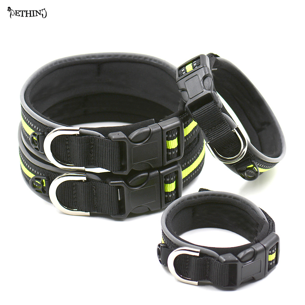 Newly designed magic tape size adjustable pet dog collar cat dog Padded collar Reflective Green color S M L XL large dog collar
