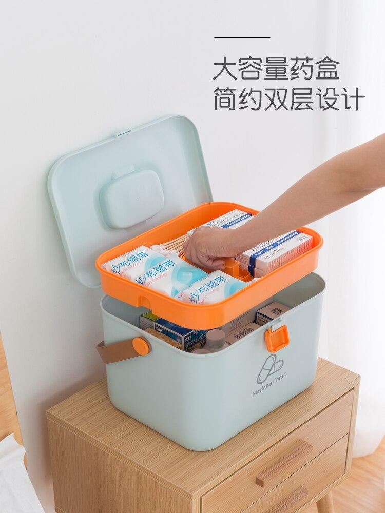 Boîte de médecine de ménage, trousse de premiers soins portable enfant grand, boîte médicale, boîte de rangement de médecine en plastique portable, armoire à pharmacie