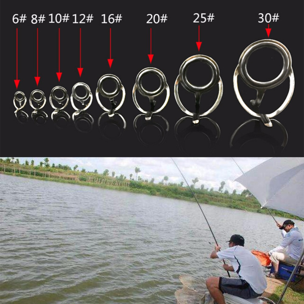 Line Rings Guides Fishing-Rod Making-Repair-Kit Tips Stainless-Steel DIY 8pcs for 8-Size title=
