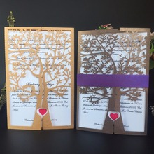 12pcs hot sale royal laser cut chic tree love heart birds wedding invitations cards Christmas greeting party decoration