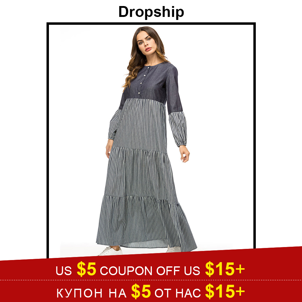 Dropship Fashion Denim Stripe Color Block Women Dress Ankle-Length Casual Muslim Dresses Elegant Ladies Maxi Long Dress Autumn
