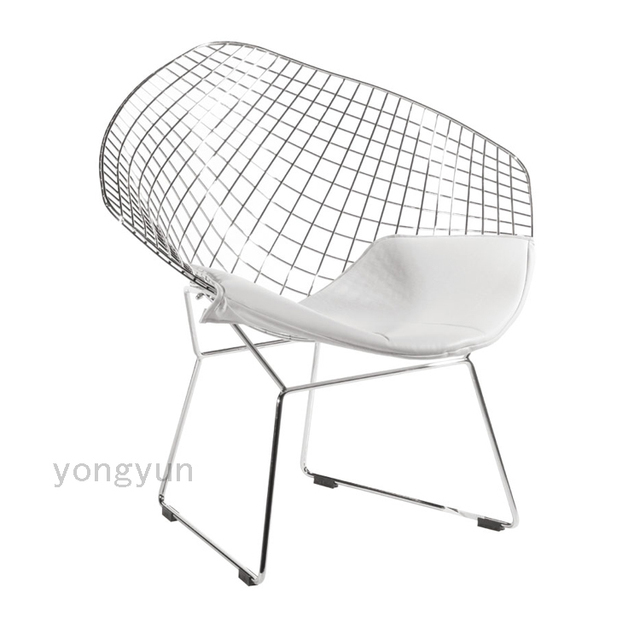 steel net chair clear dining free shipping leisure diamond wire bertoia cushion modern chromed
