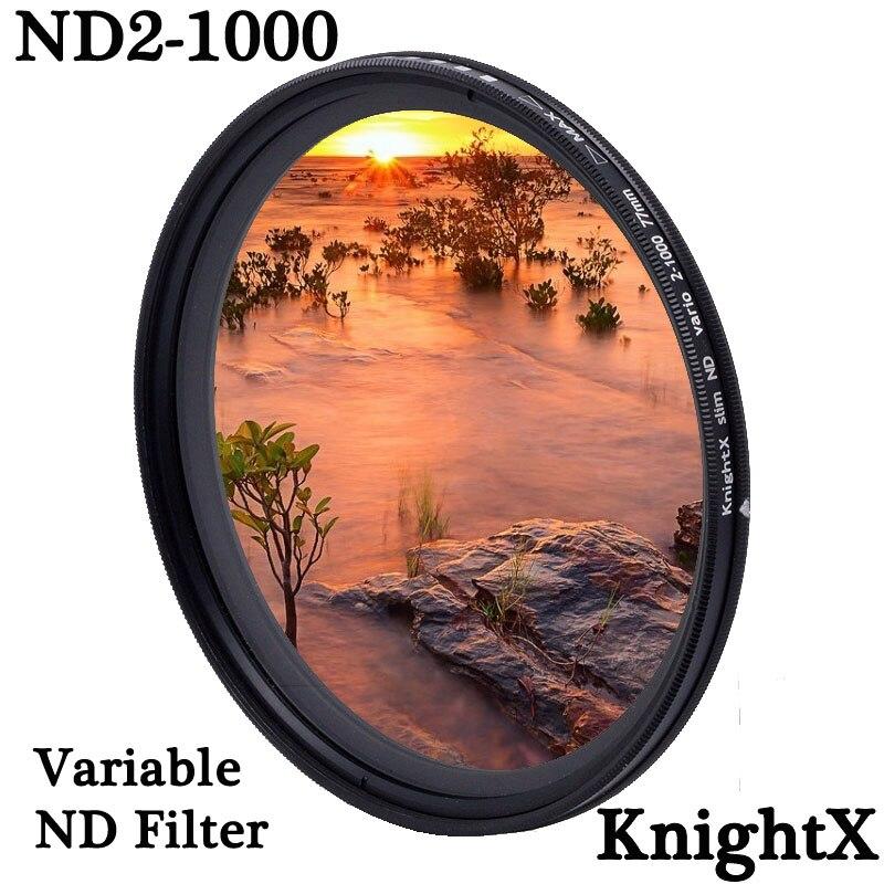 Knightx nd2 para nd1000 densidade fader nd variável filtro ajustável para canon sony nikon d600 60d 500d 49 52 55 58 62 72 77 mm