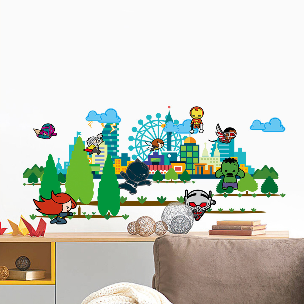 Q Version of Avenger League City Windmill Cartoon Tree Nursery Childrens Room Environmentally Friendly Removable Wall Stickers
