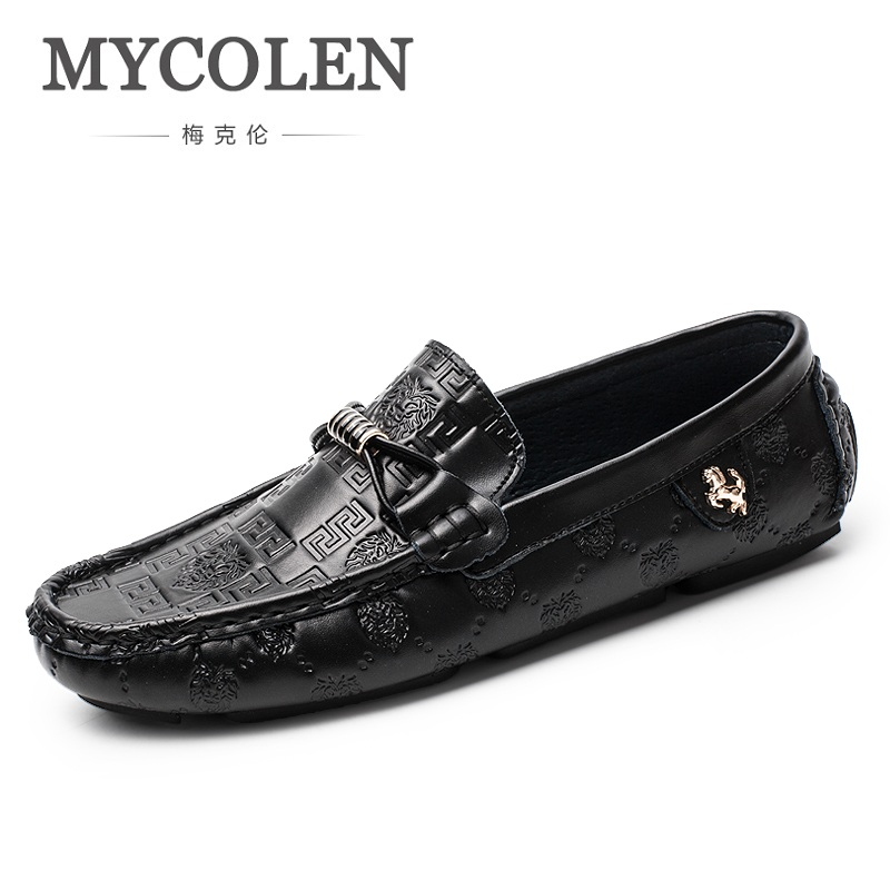 MYCOLEN 2018 New Casual Tide Shoes Slip On Genuine Leather Men's Luxury Brand Shoes Italian Lightweight Flat Men Shoes Zapatos mycolen mens loafers genuine leather italian luxury crocodile pattern autumn shoes men slip on casual business shoes for male