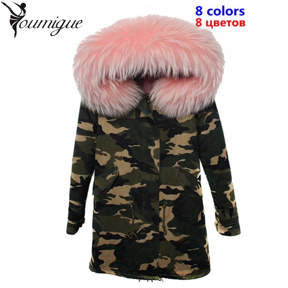 Real Raccoon Fur Collar Hooded Coat Female jacket Women's Winter Jackets Camouflage Fur Parka Coats Parkas mujer invierno 2017 luxury finland raccoon fur hooded 90