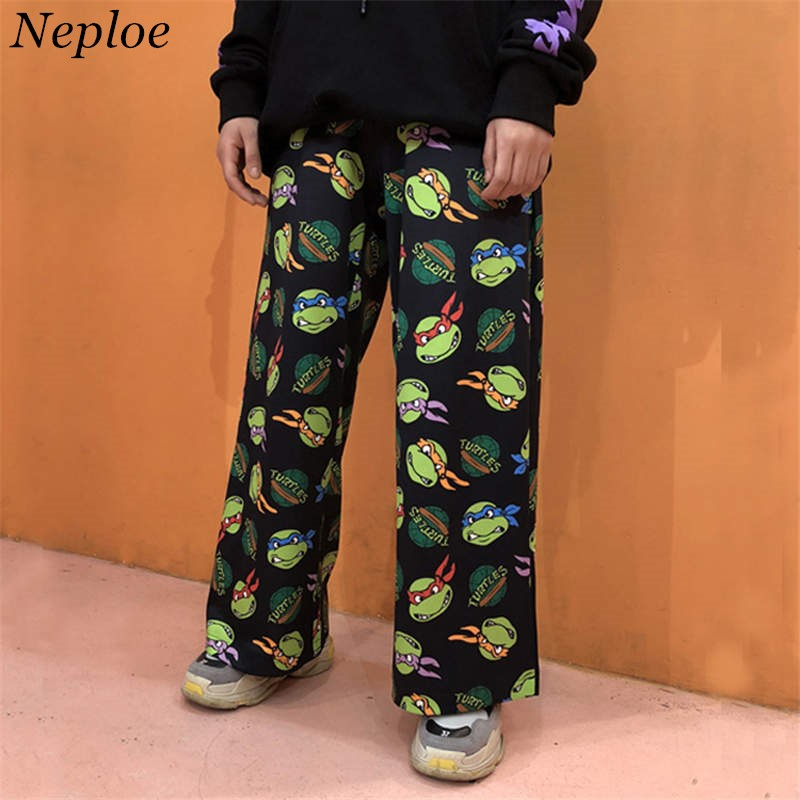 Neploe Retro Cartoon Printed Pants Harajuku Streetwear Pants Woman Man Wide Leg Trousers Pantalones Mujer Cintura Alta 38085(China)