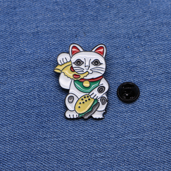 50pcs/lot Animals Brooches Cat Eating Pizza Enamel Pin for Boys Lapel Pin Hat/bag Pins Denim Jacket Women Brooch Badge Q407