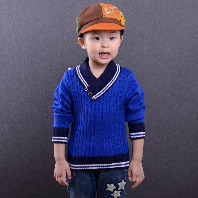 Crianças camisola meninos Com Decote Em V corpo sólido colorido stripe gola e abertura roupas de malha pullover moda kint tops