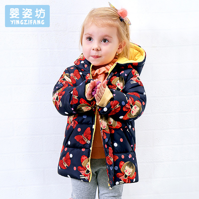 2017 Winter Casual Baby Jackets Cute Toddler Girls Outerwear Cartoon Cotton Thick Hooded Coat Children'S Down Jackets winter baby jackets outerwear casual toddler girls coats cute style cotton thick hooded coat children down outerwear
