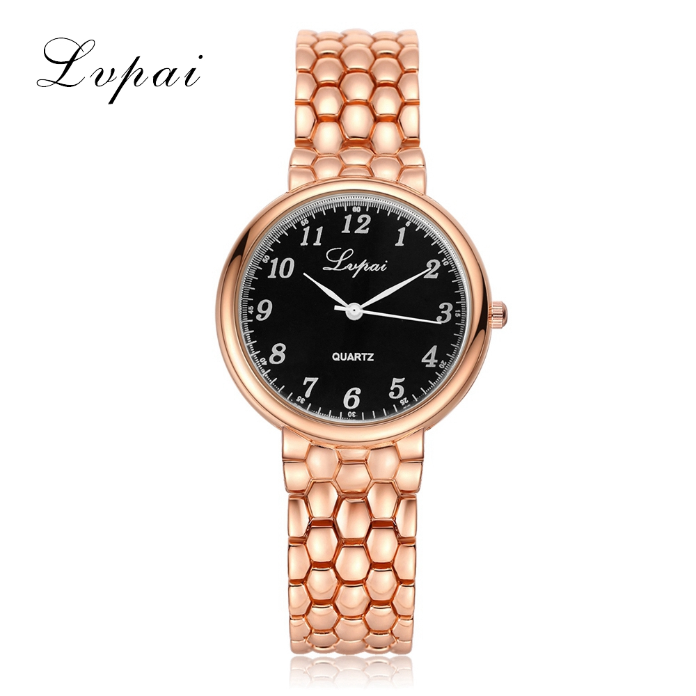 цены на LVPAI Brand Fashion Gold Luxury Women Bracelet Watch Quartz WristWatches Women Dress Watches Casual Luxury Gift Watch Clock