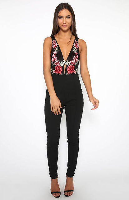 Embroidery Floral Women Sexy Deep V Neck Sleeveless  Camisole Tops