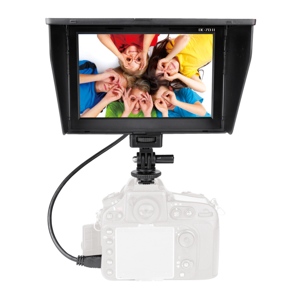 DC-70II 7 Inch Portable HDMI IN/OUT Clip-on HD LCD Monitor 1024*600P Camera Monitor For All DSLR Camera Standard Shoe Adapter