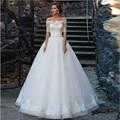 Vestidos de Noiva 2017 Ball Gown Lace Wedding Dresses Boat Neck Half Sleeve Button Applique Floor Length 2016 Bridal Gowns Dress