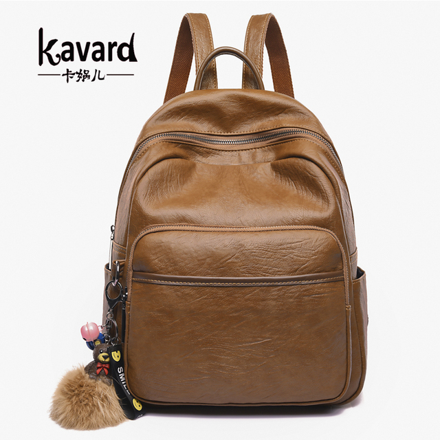 Kavard Vintage Brown Pu Leather Backpacks Women School Bags For Ager High Quality Backpack