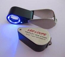30X 21mm Dual Light-White & UV Ring LED Illuminated Diamond Folding Loupe For Jewelry Identifying