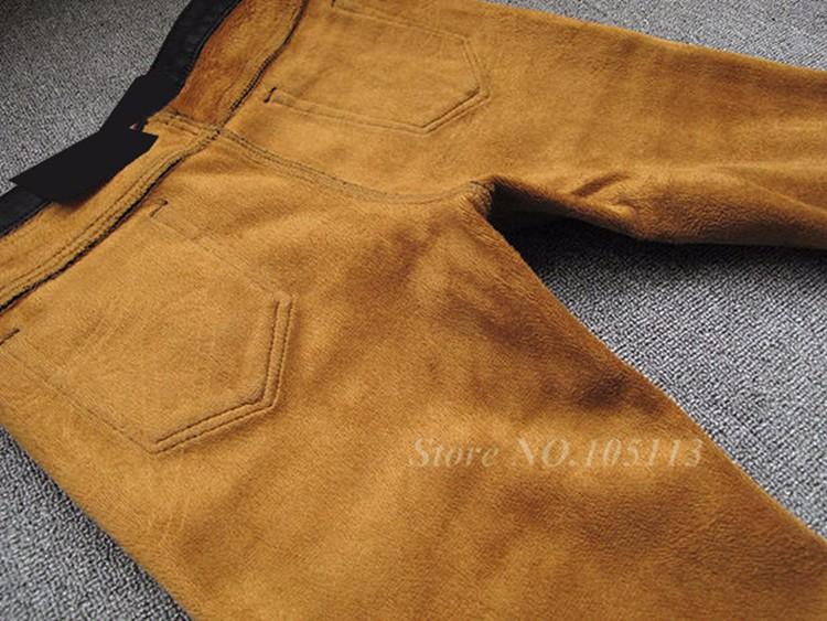 Fashion Winter Warm Mens Black Thicken Velvet Boot Cuts Casual Jeans Men Skinny Flared Jeans Bell Bottom Fleece Jeans 3Xl 4Xl 36 14
