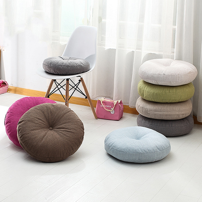 Japan Style Simple Solid Cushions Cotton Linen Dining ...