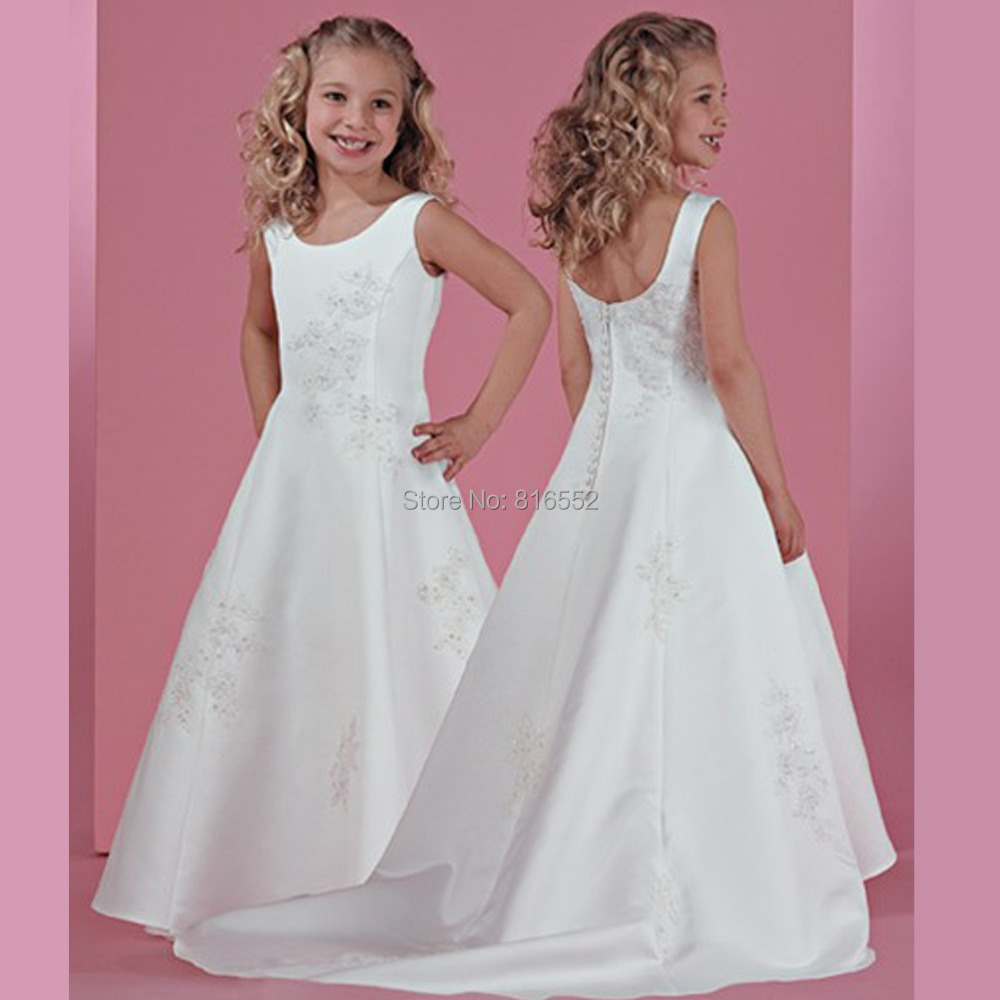 82e674e72 2017 Hot Satin Flower Girl Dresses Floor Length Baby Party Girls ...