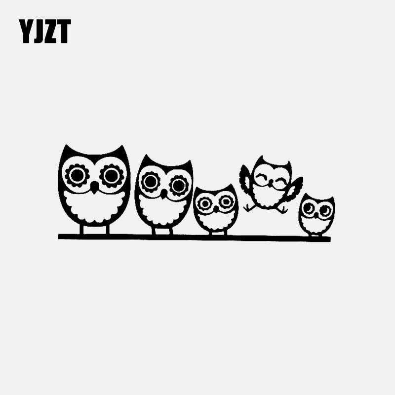 YJZT 16.5CM*5.9CM Owl Family Car Sticker Funny Vinyl Decal Truck Window Black/Silver C3-2191