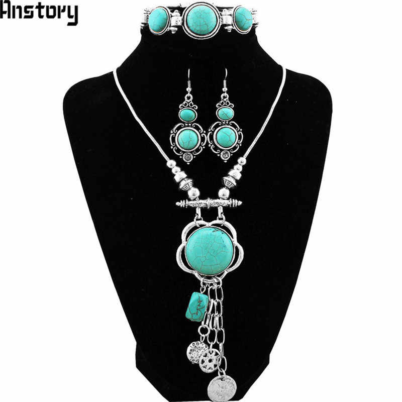 Flower Pendant Natural Stone Jewelry Sets Necklace Bracelet Earrings Vintage Antique Silver Plated Party Fashion Jewelry