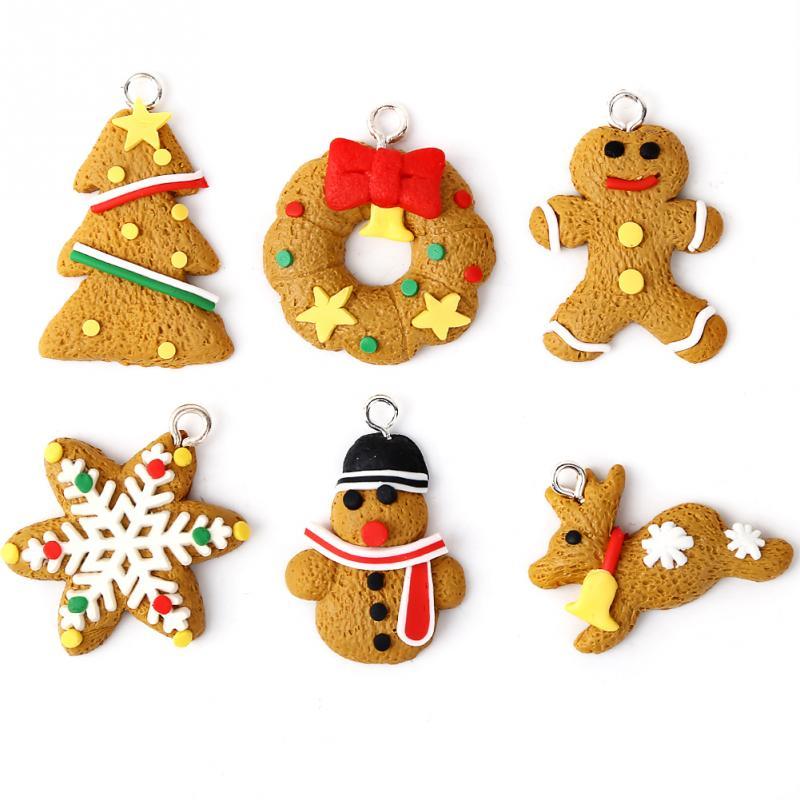 6 unids adornos de arcilla de polmero decoracin de navidad rbol de navidad mueco de nieve