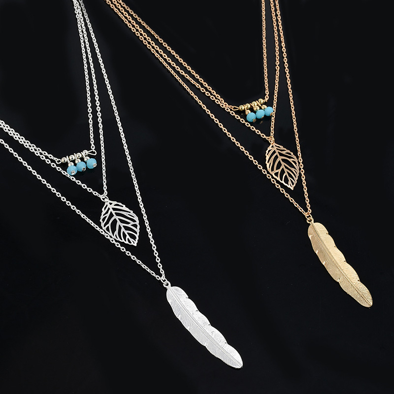 Simple-Multilayer-Necklace-Leaf-Beads-Feather-Pendant-Choker-3-Layer-Chain-Necklace-CX17 (3)