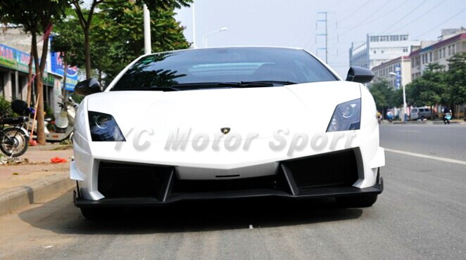 Car Styling Auto Accessories FRP Fiber Glass Car Bodykit Fit For 2008-2012 LP570-4 ST Style Front Bumper with Canard