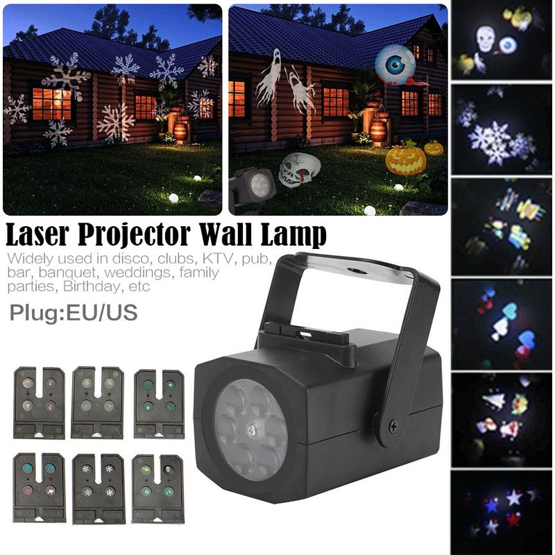 6 Pattern Christmas LED Snowflake Projector Light Laser Projection Lamp Disco Stage Light Home Party Weeding Decor Film Lights