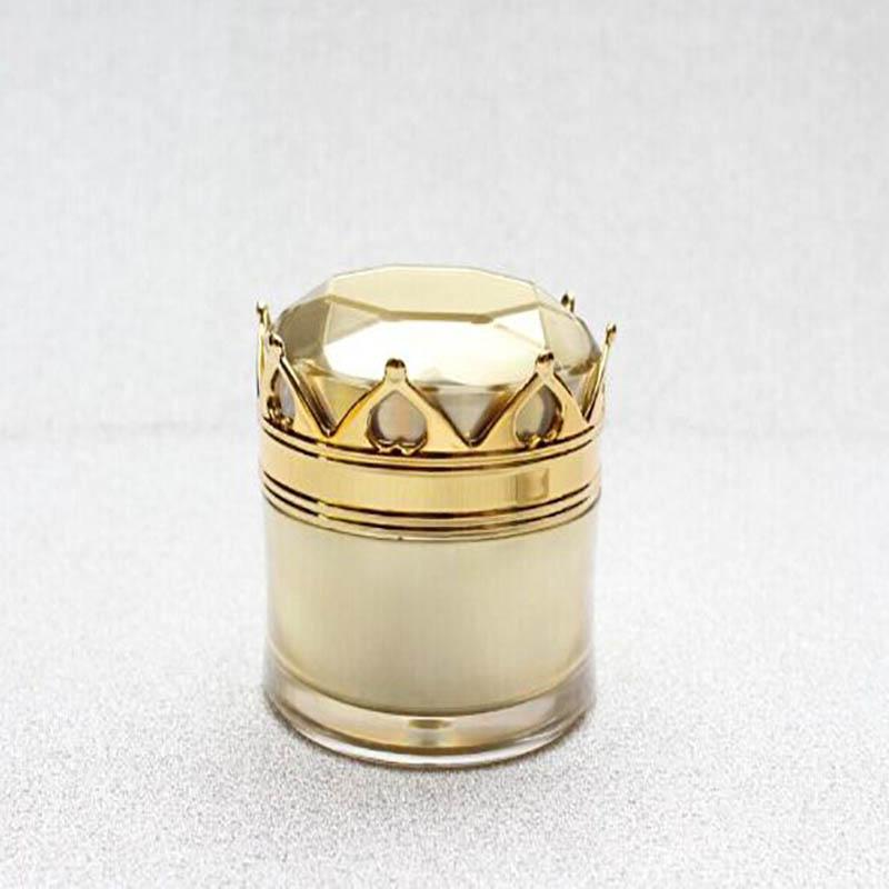 20ml zlata krona oblika akrilna kozarec, plastična jar smetana kozarec za kremo za oči, essence gel vlažilec nočna krema kozmetično pakiranje