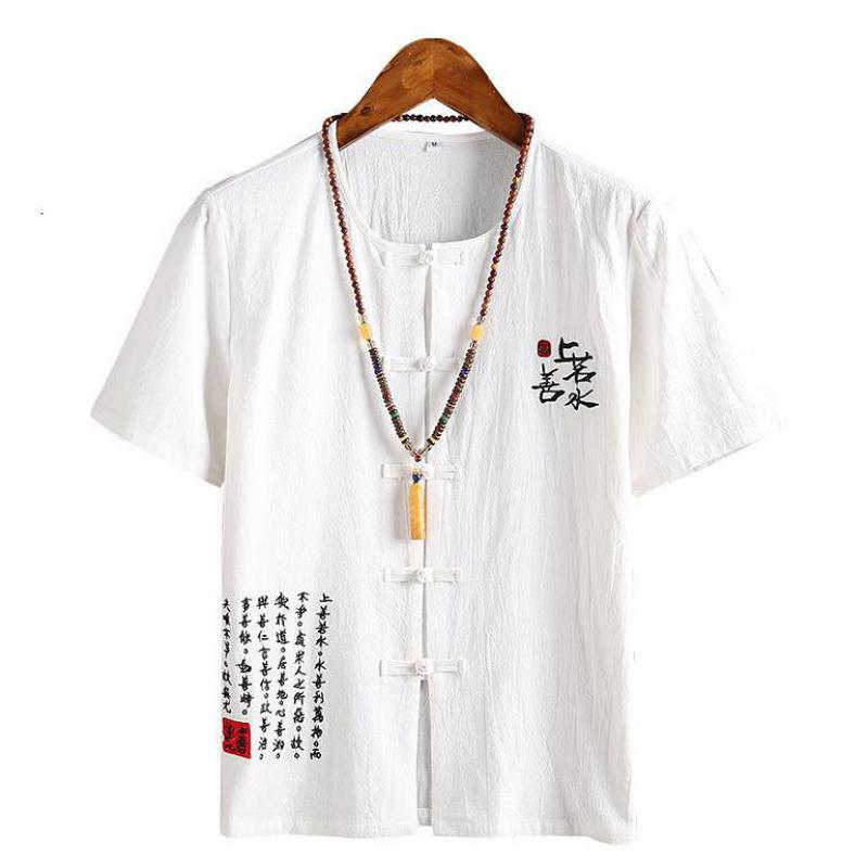 5 Colors Collarless Short Sleeve Vintage Linen Shirt Plus Size 5XL 4XL Office Shirt Men Single Breasted Chinese Type Blouse Man