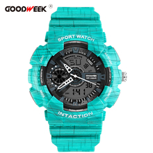 Get more info on the GOODWEEK Outdoor Multi-functional Sport Watch for Man Waterproof Analog Digital Quartz Watches Chronograph Dual Display Watches