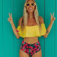 2019 New Sexy High Waist Bikini Swimwear Women Swimsuit Off Shoulder Bathing Suit Biquini Ruffle Brazilian Bikini Set Beach wear high quality off shoulder solid sexy women bikini swimwear plaid high waist swimsuit summer beach hot girl pool bathing suit