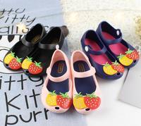 2017 Girls Shoes Mini Melissa Strawberry Design Sandals Children Sandalia Infantil Shoes Size 24-29 Black Royal Blue