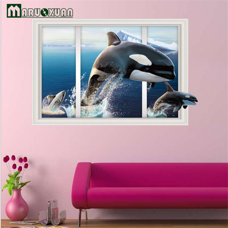 N 186 Maruoxuan Decorative Diy Wall Stickers Whale Fish 3d