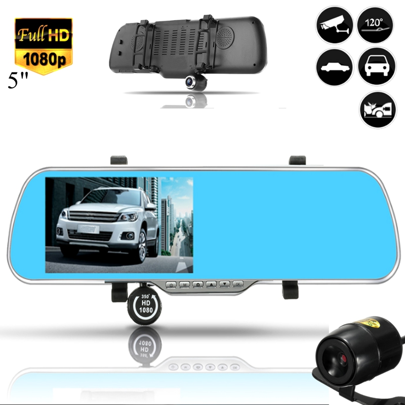 ФОТО 5Inch Car Camera DVR Auto Video Recorder Rearview Mirror Full HD 1080P With Two Camera Lens Parking Monitor Dashcam