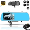 5Inch Car Camera DVR Auto Video Recorder Rearview Mirror Full HD 1080P With Two Camera Lens Parking Monitor Dashcam