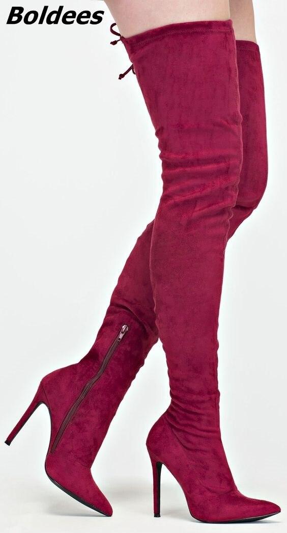 Chic Up Slim Bottes Fit Rouge Plaine Lace Aiguille Pointu Haute Dressshoes Talon Sexy Noir dessus Suede De rouge Genou Mode Femmes orange Tendance Du qttPr
