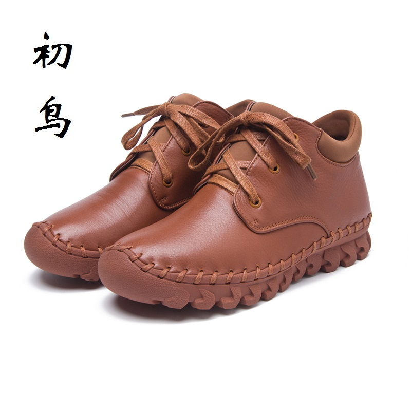 2017 Handmade Sewing Fashion Lace-up Genuine Leather Flat Ankle Women Boots Spring Autumn Comfort Shoes Woman Chaussure Femme front lace up casual ankle boots autumn vintage brown new booties flat genuine leather suede shoes round toe fall female fashion