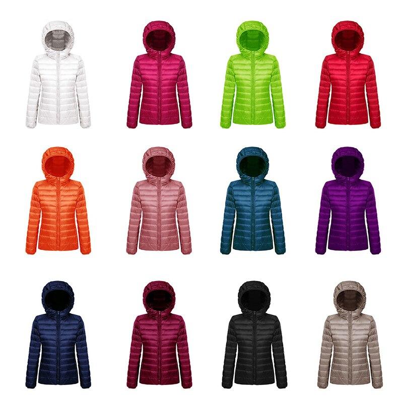 Plus Size Winter Women Solid Portabl Outwear Ultra Light Down Jacket 90% Duck Down Hooded Jackets Warm Slim Coat Female Parkas