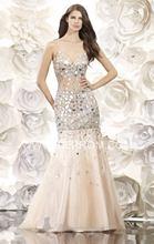 Hohe Qualität 2016 V-ausschnitt Straps Nixe-abschlussball Kristall Tüll Perlen Abendkleid Party Kleid vestidos de fiesta Sexy Open Back