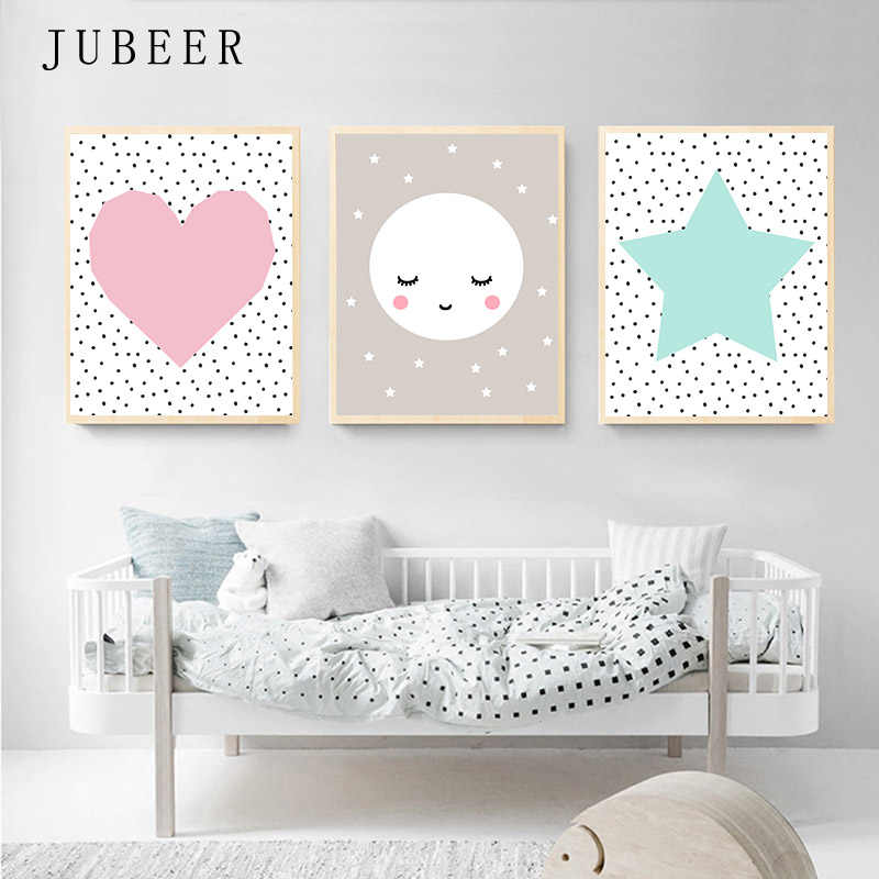 Set of 3 Prints Pink Mint moon Art Scandinavian Geometric Nursery Wall Art Girl Kids Room Poster and Prints For baby room