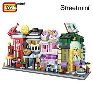 Image 2 - LOZ Mini cegły architektura Mini Model uliczny ciasto sklep sklep budynek montaż zabawka miasto plac zestaw bloku księgarnia prezent dla dzieci