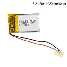 polymer lithium battery 602030 300mAh 3.7V Li po Polymer li ion Battery for Bluetooth Pen Camera GPS MP5 303040 Drop shipping
