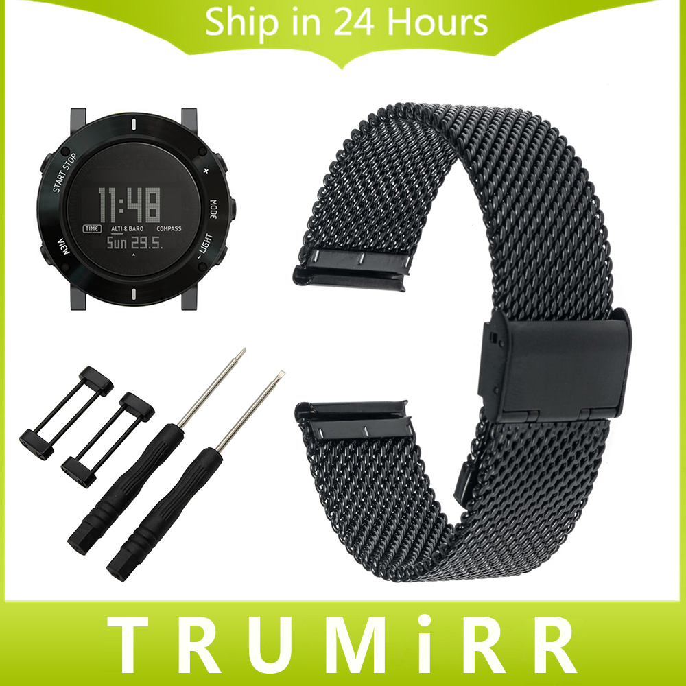 24mm Milanese Watchband + Lug Adapter + Tool for Suunto Core Watch Band Stainless Steel Strap Wrist Bracelet Black Gold Silver stainless steel watch band 24mm for suunto core safety clasp strap loop belt bracelet black rose gold silver tool lug adapter
