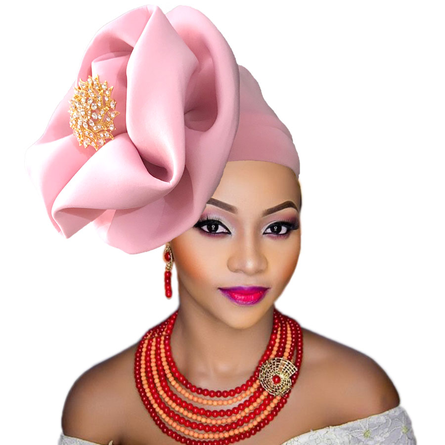 auto gele cap for women party african headtie nigeria turban headband already tied african head wraps (5)